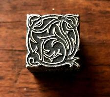 Antique Metal Letterpress Printing Block Ornate Decorative Ornamental Design