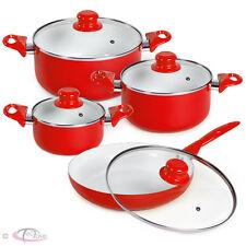 8pcs batterie de cuisine kit casseroles poêle céramique marmites rouge