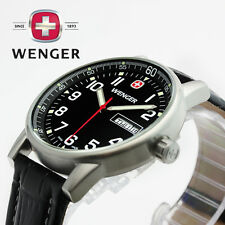 Wenger Men's 70164 eCommando Stainless Steel Watch  Black Leather Strap Day Dat