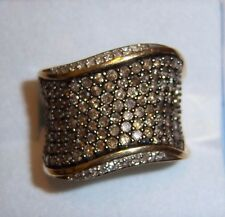 10K Gold Chocolate / Champagne, White Diamond Wave Pave Ring 1.75 CTW