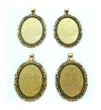 4 new Antiqued Goldtone NEOCLASSICAL 40mm x 30mm CAMEO PENDANTS Frames Settings