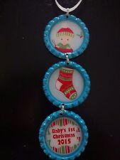 Baby's First Christmas Boy 2015 Aqua Blue Bottle Cap Christmas Ornament * new