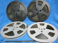 "4 Reels BLACK BACKCOATED Non STICKY Ampex/Concertape Tape 7"" Low Noise 1800 FT"