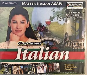 QuickStart Italian Audio Pc or Cd Rom Player New 2 Audio CDs 800 Words & Phrases