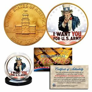 UNCLE SAM * I Want You for U.S. Army * 24K Gold Plated 1976 JFK Half Dollar Coin