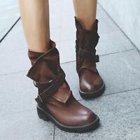 Vintage Women Winter Snow Boots Mid-Calf Flats Warm Plush Suede Ankle Shoes S