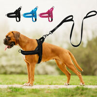 Reflective No Pull Dog Harness and Lead Set Nylon Front Leading Walking Harness