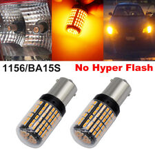 2pcs 1156 LED BA15S 3014 144SMD Bulbs No Hyper Light Amber Orange Yellow 4side