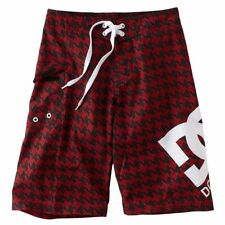 New DC SHOES Boys Hounder Boardshorts Size 27 Red/Black Trunks