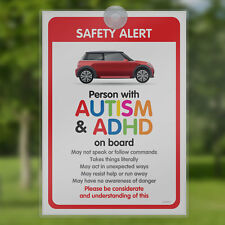 Autism Car Sign -DISABILITY ADHD SEN Awareness Sign for Emergency services BORP2