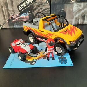 Playmobil 99% Complete Set 4228 Pick-Up Truck With Pull Back & Go Quad Bike