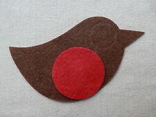 X4 Fieltro Gran Robins Bird Die Cuts Navidad EMPAVESADO árbol Decoraciones Appliqués