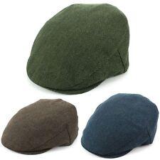 Flat Cap Hat Herringbone Tweed Country Driving Hawkins Men Ladies BLUE BROWN