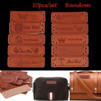 10pcs Random Accessories Embroidered PU Leather Handmade Square Label Brown