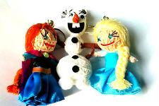 Elsa, Ana and Olaf String Doll Set, Handmade Frozen Keychains Key rings UK BASED