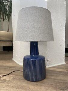 Martz Marshall Studios Vintage Lamp Mid Century Modern Blue Sgraffito Glaze