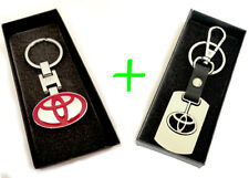 2 x Toyota KeyChain Key Chain Stainless Steel RED and SILVER