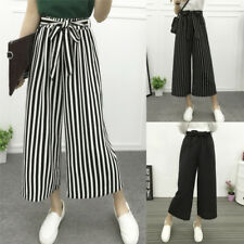 Fashion Women Casual High Elastic Waist Pants Wide Leg Loose Striped Trousers LJ