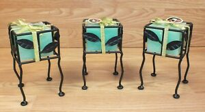 Set of 3 Black Leaf Design Iron Square Candle Holders With Green Candles *READ*
