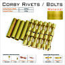 Knife Handle Bolts 12 Or 6 Brass Corby Rivets Lanyard Tubes Knifesmithing Supply