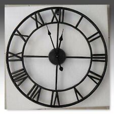 LARGE OUTDOOR GARDEN WALL CLOCK BIG ROMAN NUMERALS GIANT OPEN FACE METAL 40CM