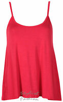 S181 Women's Ladies Plain Sleeveless Stretch Strappy Flared Swing Cami Sole Vest