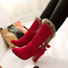 Womens Winter Warm Fur Lined Block Heel Faux Suede Mid Calf Boots Buckle Shoes