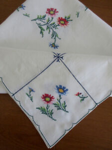 Vintage Cross Stitch Linen TABLE CLOTH 'Never Used'