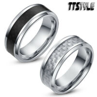 TTstyle 8mm Stainless Steel Inlaid Fibre Wedding Band Ring Choose Colour