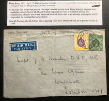 1935 Hong Kong Early KLM Airmail Cover To London England Special Postmark