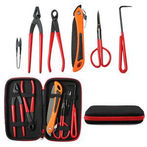 Bonsai Tools Set Carbon Steel 6 Pcs Kit Cutter Scissors Shears Tree Nylon Case