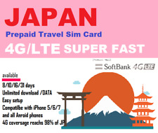 Japan Travel - 8 days Prepaid data SIM card 4G/LTE UNLIMITED Softbank Network