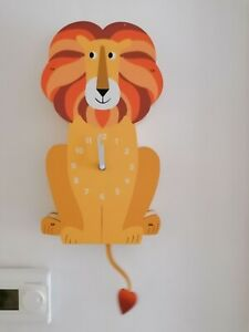 New REX London big wooden 3d Charlie the lion child's nursery wall clock boxed