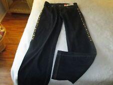 V. Cristina Designer Jeans Size 8 #M3725 Dark Denim Embellished Legs