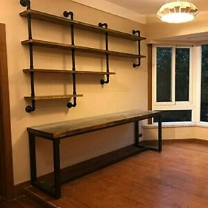 4-Tiers 63inch Industrial Pipe Shelving Rustic Wooden & Metal Floating Shelves