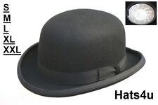 GENTS CLASSIC BOWLER HAT BLACK 100% WOOL M L XL XXL XXXL NEW