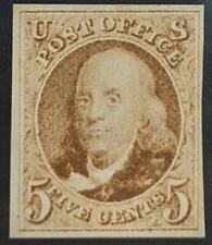 US Stamp #3 Mint NGAI 5c 1875 Franklin with PSE Cert 4 margins & tiny crease