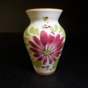 Vase miniature céramique terre cuite fleur vintage art nouveau fait main N7649