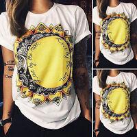 Women T-Shirt Casual Summer Short Sleeve Cotton Blouse Tops Loose Tee Ladies
