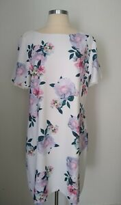 Ladies REVIEW WHITE & FLORAL Dress Size 16