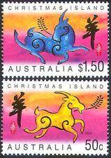 Isla de Navidad 2003 yo Cabra/saludos/animales/Lunar Zodiac 2v Set (n18378)