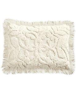 Martha Stewart STANDARD Pillow Sham Chenille Medallion Cotton IVORY 336