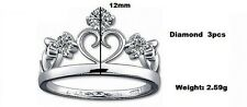 Sterling Silver 925 Princess Crown Cubic Zirconia Finger Stack Ring R22