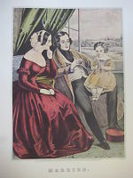Vintage Currier & Ives America Color Print, Married