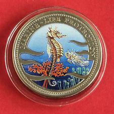 PALAU 1995 MERMAID COLOURED MARINE LIFE PROOF DOLLAR - seahorse
