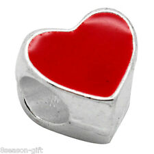 20PCs European Charm Beads Enamel Red Heart Silver Plated.Fit Charm Bracelet.