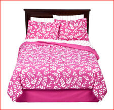 8 Pieces - Reversible Comforter Set + Sheet Set - Pink White Floral - Full *New*