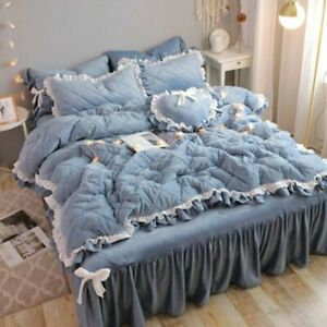 Korean-style Winter Thickened Cotton 4pcs Bedding Crystal Coral Velvet Bed Skirt