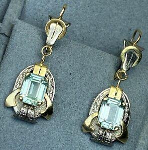 Art Deco 18K White Yellow Gold Aquamarine Aqua Vintage Scrolls Dangle Earrings
