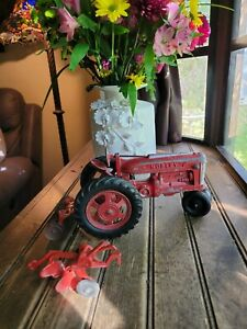 Vintage Large Red Hubley Toy Tractor Kiddie Toy USA Lancaster #490 & Implements